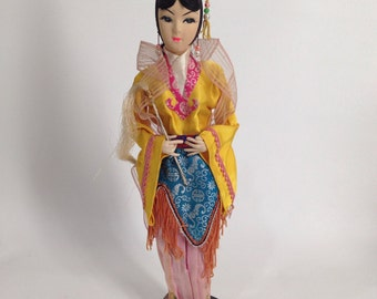 Gift for Doll Collector  Chinese Fairy Princess Doll  vintage 50s Souvenir Doll  Jin Dynasty  Yu Chu Cloth Doll  broider doll. w/ magic wand