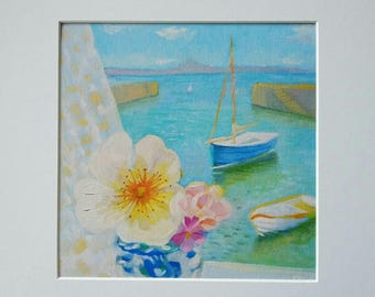 Harbour View mounted fine art giclee print to fit 12x12in (30x30cm) frame