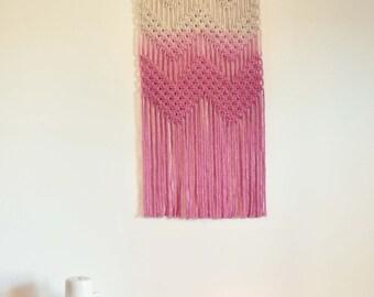 Cheveron Macrame Wall Hanging - Pink Dip Dye
