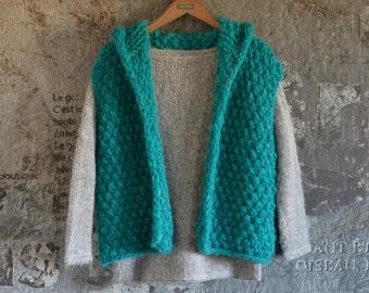 Thick vest turquoise with hood in voluminous merino/alpaca yarn, ladies Vest