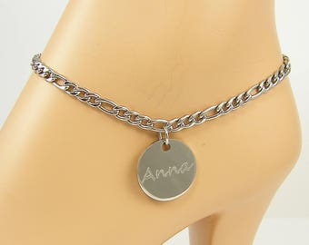 Personalized Ankle Bracelet, Silver Name Initials Custom Engraved Anklet, Steel Foot Bracelet |ST1-02,2610