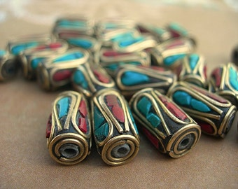 Tibetan Beads 13mm Inlay with Brass turquoise and coral TUBES 1 pair, lot of 2 Himalayan