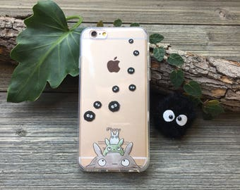 Totoro and Soot Sprites Phone Case for iPhone 5, SE, 6, 6 Plus, 7, 7Plus, 8, 8 Plus and X. TPU or Wood Options