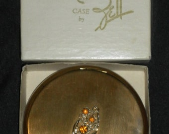 Vintage in Original Box - Zell Goldtone Compact Case w/ Amber Stones