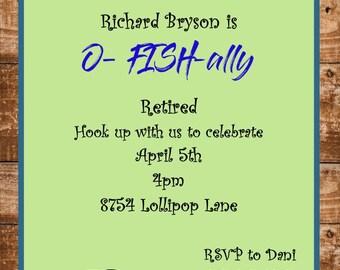 O-Fish-ally retirement party invitations sar2384