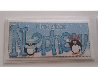Christmas card for a Nephew with penguins