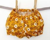 Little Biscuit Bloomer - Goldenrod - Modern Baby - Nappy Cover - Floral - Handmade - Girls Bloomers