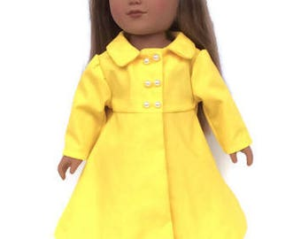 18 Inch Doll Clothes, Yellow Doll Coat, Spring Doll Clothes, Summer Doll Clothes