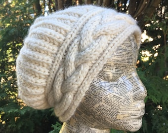 Bulky Cable Brim Slouchy Hat Knitting Pattern Instant Download