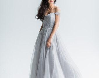 Gray wedding dress, Simple wedding dress, Tulle wedding dress, Unique wedding dress/Fairy wedding dress/Off the shoulder wedding dress Trudy