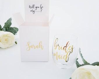Bridesmaid Proposal Box - Bridesmaid Proposal -WITHOUT GLASS - Will you be my bridesmaid - Bridesmaid Gift - Personalized box