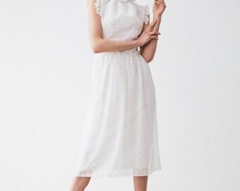 White Silk Chiffon Dress - White - Silk Chiffon Dress - Silk Chiffon
