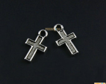 200Pcs Antique Silver Cross Charm Cross Pendant 14x8mm (PND1437)
