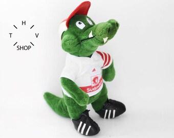 1993 Vintage FRITZLE VfB Stuttgart toy / Adidas Deutschland Bundesliga Soccer mascot / Crocodile Sudmilch Figurine Plush Stuffed Animal 90s