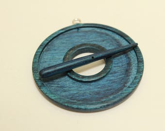 Indigo Blue Toggle for Polymer Clay, dyed & laminated wood, hand carved