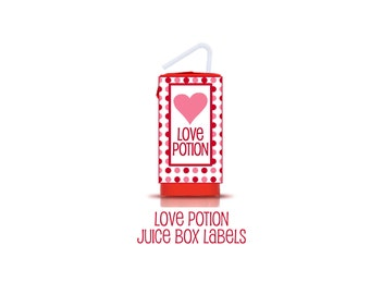 Love Potion Juice Box and Water Bottle Labels. Valentine's Day Labels. Instant Digital Download