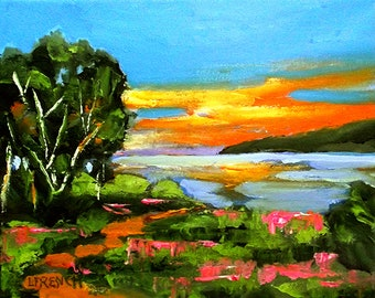 Pacific Sunrise Painting Impressionist Plein Air Landscape Monterey Bay California Art Lynne French o/c 8x10