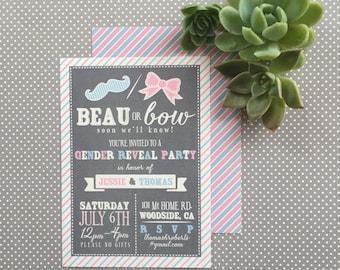 Beau or Bow Invitation - Gender Reveal, Shower