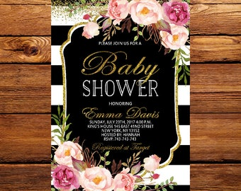 Baby Shower invitation,Black and Gold Baby Shower invitation,Black stripe invitation, Baby Shower Invite, Baby Shower,Floral Baby Shower 228
