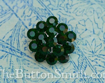 Rhinestone Buttons -Charlotte- (26mm) RS-011 in Emerald - 5 piece set