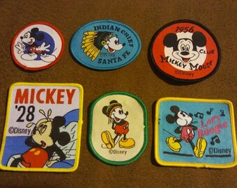 Vintage Lot of 6 unused Walt Disney World Mickey Mouse Sew or Iron On Collectible Children's Embroidery Crafting Patches