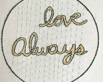 LOVE ALWAYS Wall Art Hand Embroidery Framed