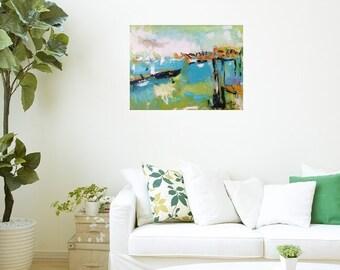 Art abstrait paysage marin, peinture de l'océan, mettant en vedette bateaux, port et port de la baie, par Russ Potak artiste
