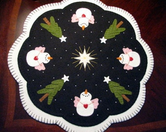"Hand Stitched 17"" Diameter ""O HOLY NIGHT"" Candle Mat / Penny Rug - Wool Applique - Fiber Art - Christmas Decor - Snow Angles - Home Decor"