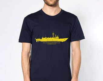 KillerBeeMoto: Oliver Hazard Perry U.S. Navy Frigate With Custom Ship Labels Short & Long Sleeve Shirt