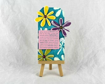 Spring art tag, spring decor, Easter gift tag, Easter decor, mixed media art tag, mixed media Easter tag, housewarming gift, gift for her
