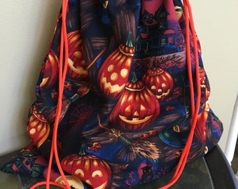 Handmade Halloween trick or treat bag, pumpkin drawstring bag, Halloween candy bag, orange and black beggars night tote, trunk or treat sack
