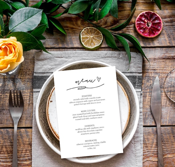 menu template elegant dinner party menu template bridal. Black Bedroom Furniture Sets. Home Design Ideas