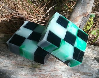 Activated Charcoal Vanilla Bean and Peppermint Shea Butter Checkerboard Handcrafted 5 OZ Square Glycerin Blend Soap Bar / Peppermint Soap