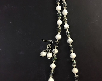 white howlite with crystal necklace and earring set beaded necklace jewelry set