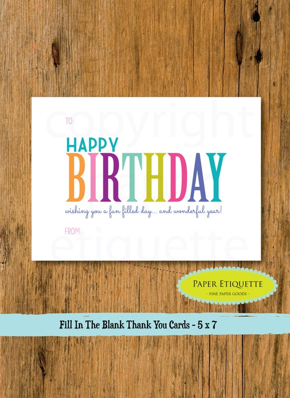 Kids Fill In The Blank Happy Birthday Card Rainbow Happy