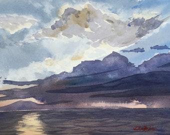 Original Watercolour Painting Art 'Storm Over Rangitoto' by Elise De Silva