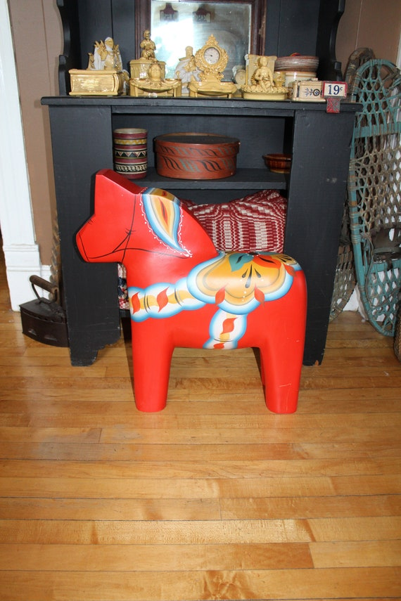 """Large 23.5"""" Swedish Dala Horse Hand Carved and Painted by Gary Paulsen"""
