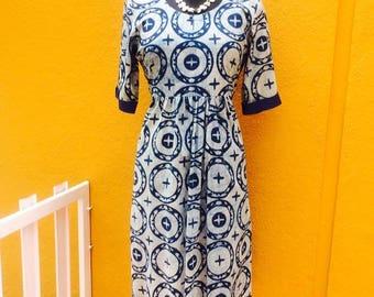 Handblock Print Indigo Cotton Dress (Free size)