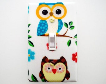 Owl Light Switch Cover - Woodland Switch Plate Cover - Owl Nursery Decor