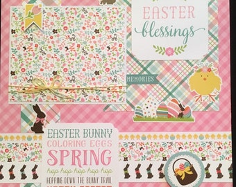 EASTER Scrapbook Layout, Premade Scrapbook Page, 12x12 Layout, Easter Blessings, Spring Scrapbook Page, Easter