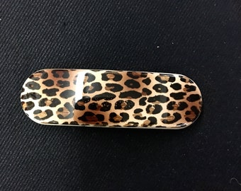 Vintage leopard print hair barrette clip made in France
