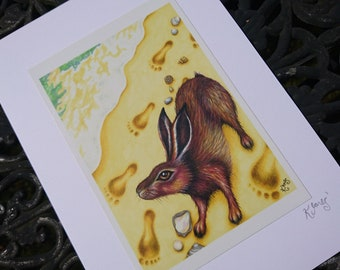 Brown Hare Greeting Card - beach, sea, ocean, seaside, footprints, shells, sand, edge - blank card, any occasion, art illustration, wildlife