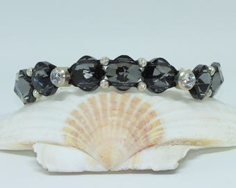 Swarovski Night Crystal and Sterling Silver Leather Bracelet