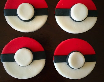 POKEMON FONDANT Cupcake Toppers 12pcs.