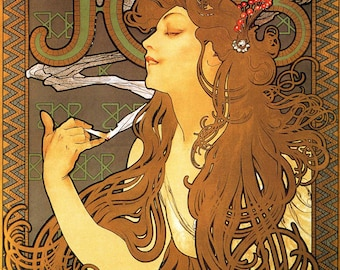 """Vintage Poster for Job Cigarettes by Alphonse Mucha, 12""""x16"""", Giclee Print on Canvas"""