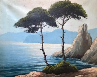 Sea view with trees (antique oil painting)