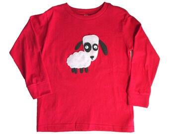 mi cielo x Matthew Langille - Sheep – Red Kids Longsleeve T-Shirt – Boys or Girls