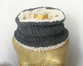 Grey-white handmade knitted scarf