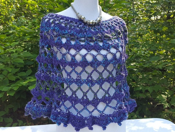 Crochet poncho, 70's retro poncho, country wedding accessory, bridesmaid cover up, leggings accessory, boho chic coverup, lace poncho