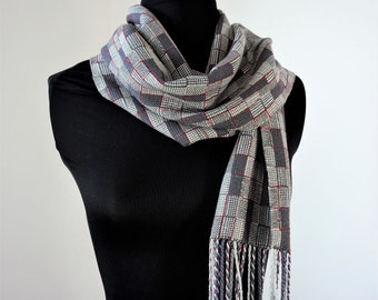 Slate Gray and Silver Handwoven Scarf, Bamboo and Tencel Fringed Scarf with Red Accents, Scarf for Men, Scarf for Women